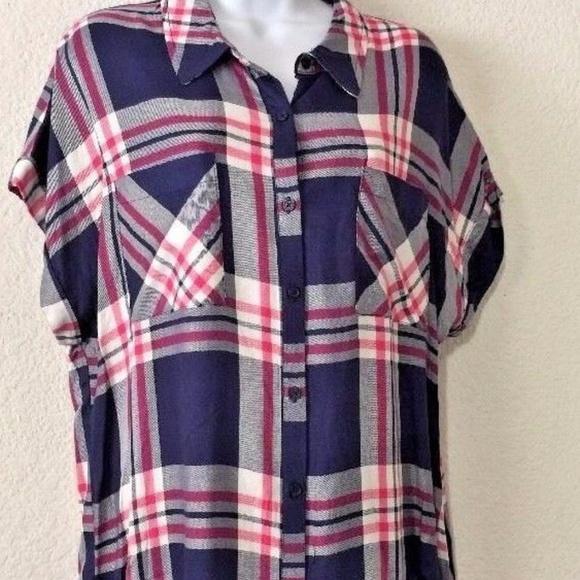 ca40c002275 como vintage Tops | Womens Short Sleeve Plaid Shirt Butt | Poshmark